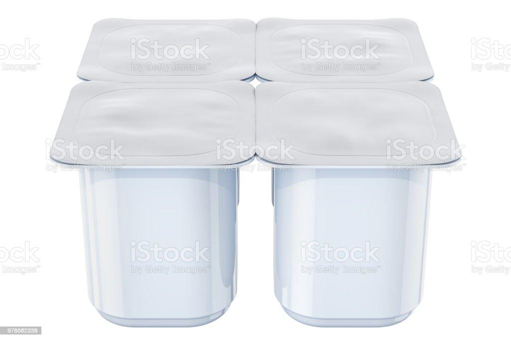 Yogurt Plastic Packaging Mockup 3d Rendering Stock Photo