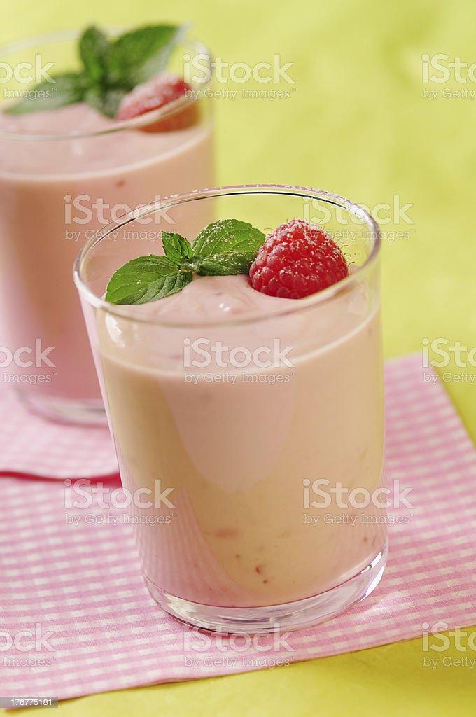 Yogurt  quark raspberry dessert royalty-free stock photo