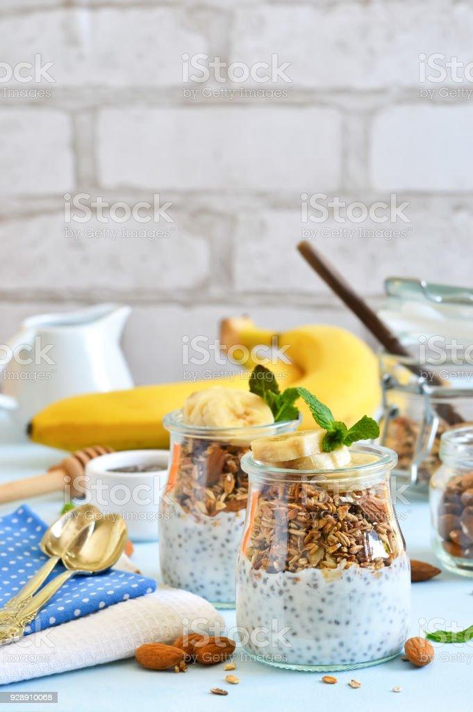 Joghurt Mit Chiasamen Musli Und Banane Zum Fruhstuck Guten Morgen