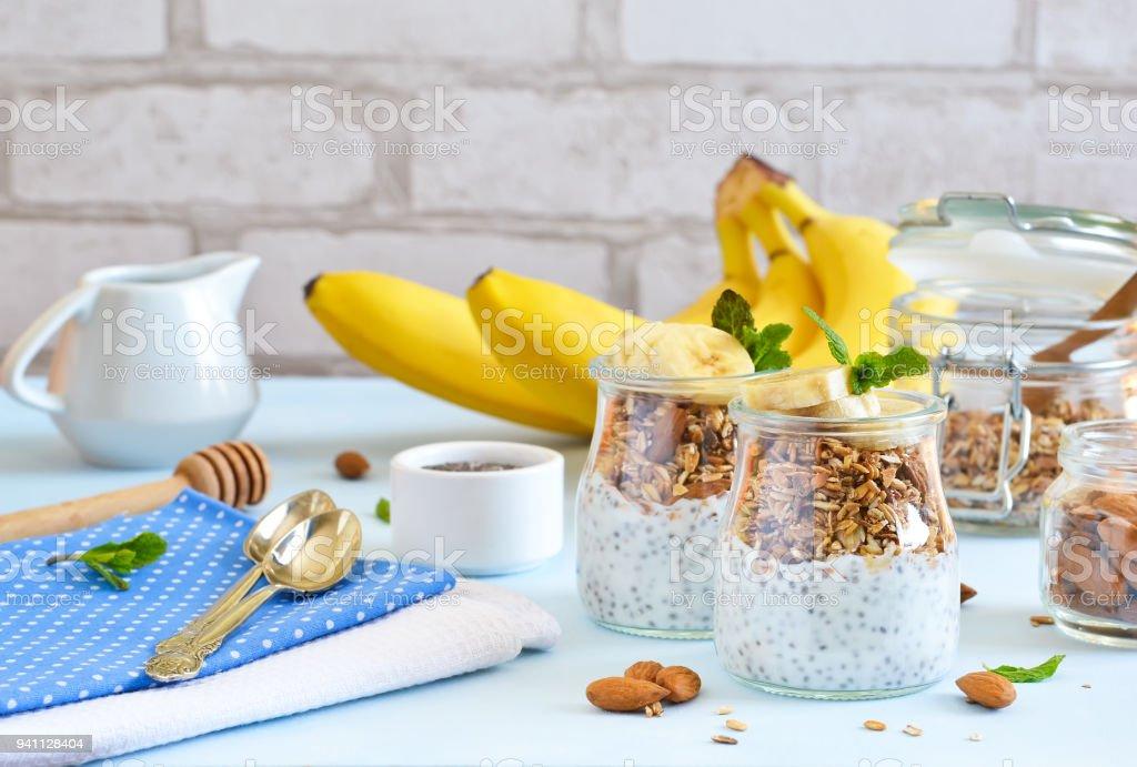 Joghurt Mit Chiasamen Müsli Und Banane Zum Frühstück Guten