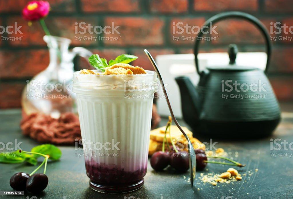 yogurt with cookie stock photo