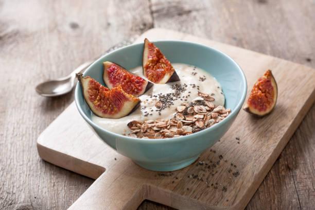 yogurt with figs stock photo