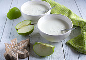 istock Yogurt with green apple in a bowl 1344952834