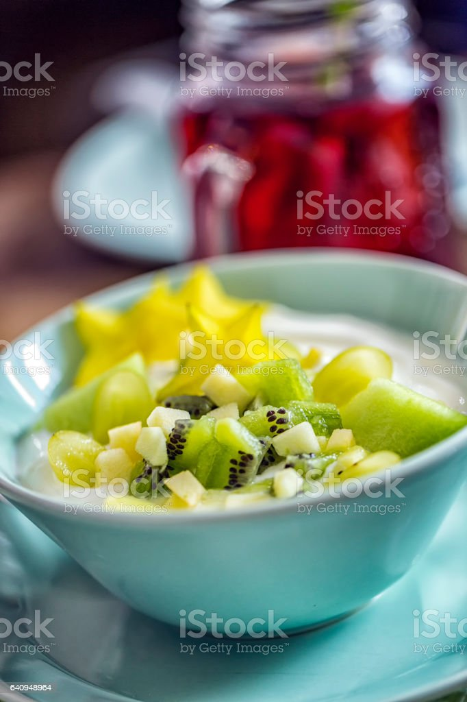 Yogurt with Green Fruits stock photo