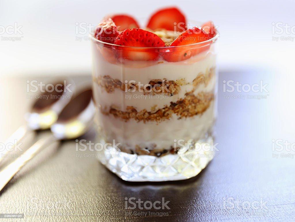 Yogurt with strawberry and granola royalty-free stock photo