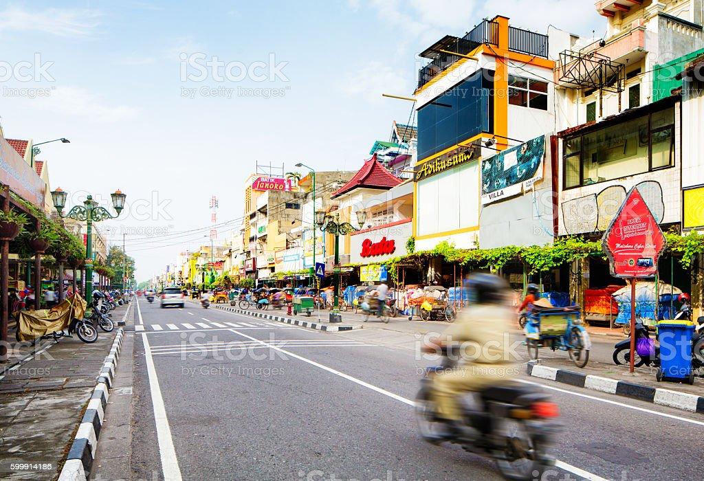 Yogyakarta Indonesia street urban scene daytime stock photo