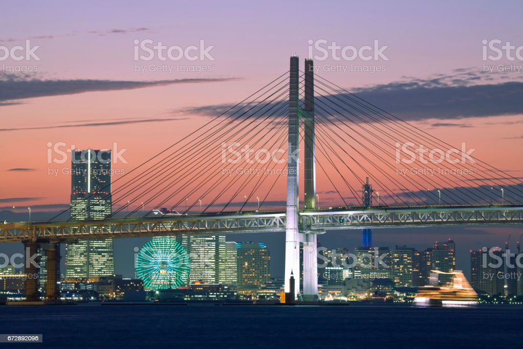 Yokohama Bay Bridge and the landmark tower stock photo