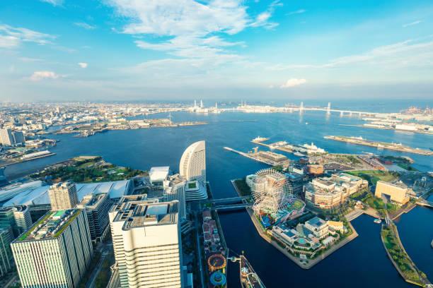 Yokohama Harbor Aerial View, Japan stock photo