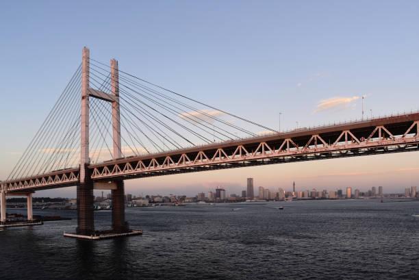 yokohama skyline at dawn - prefektura kanagawa zdjęcia i obrazy z banku zdjęć