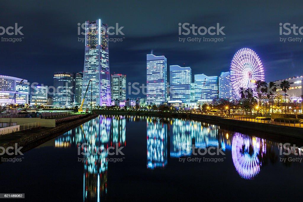 Yokohama skyline at night photo libre de droits