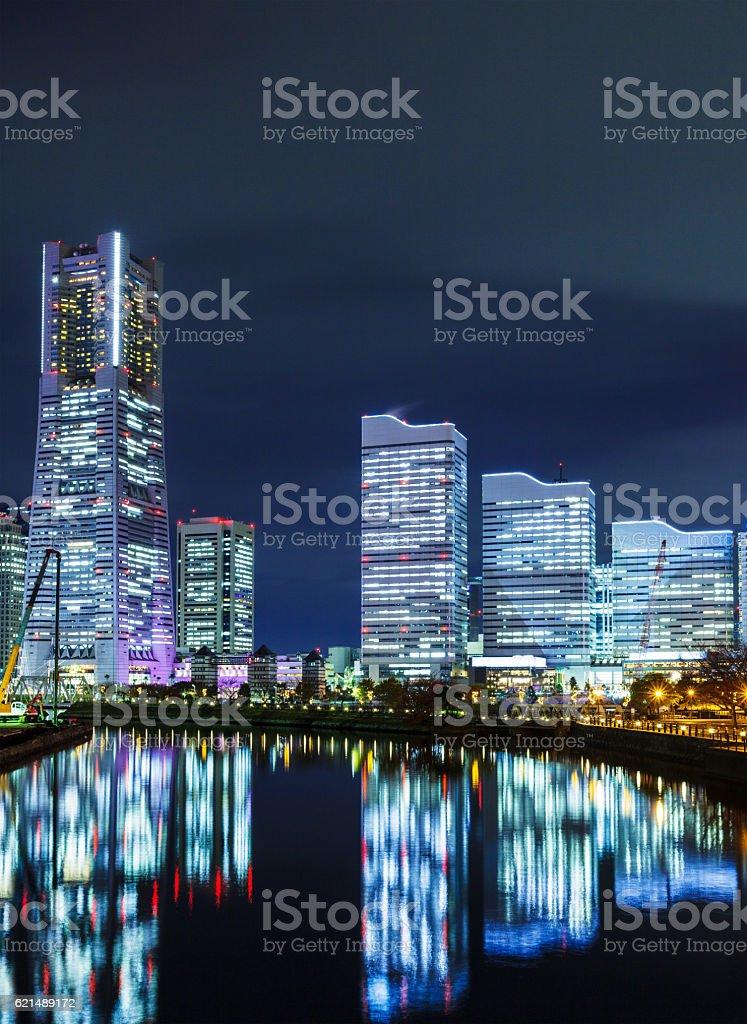 Yokohama skyline at night Lizenzfreies stock-foto