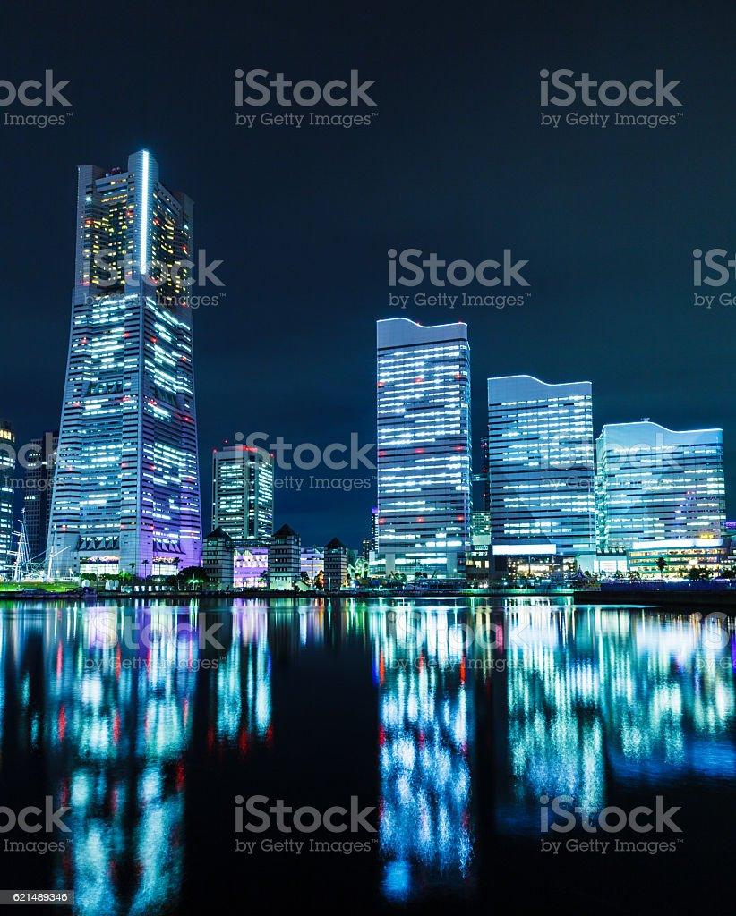 Yokohama skyline at night foto stock royalty-free