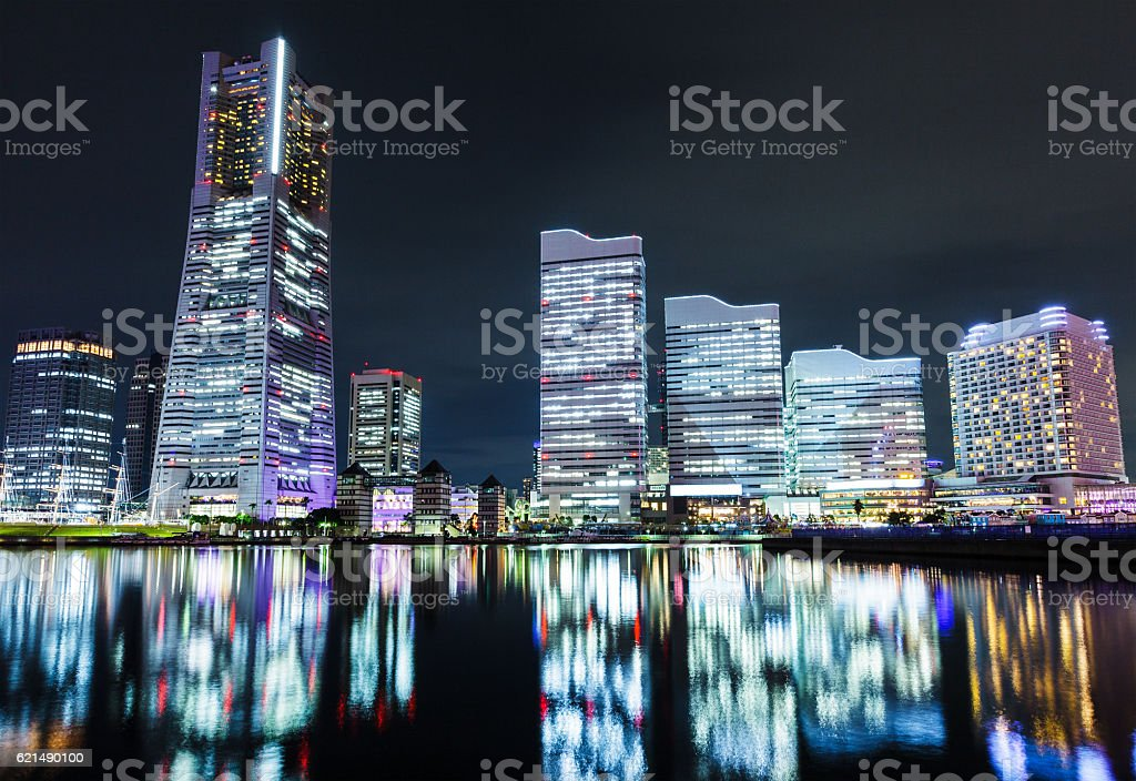 Yokohama skyline at night foto stock royalty-free