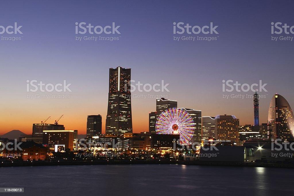 Yokohama Twilight scenery royalty-free stock photo