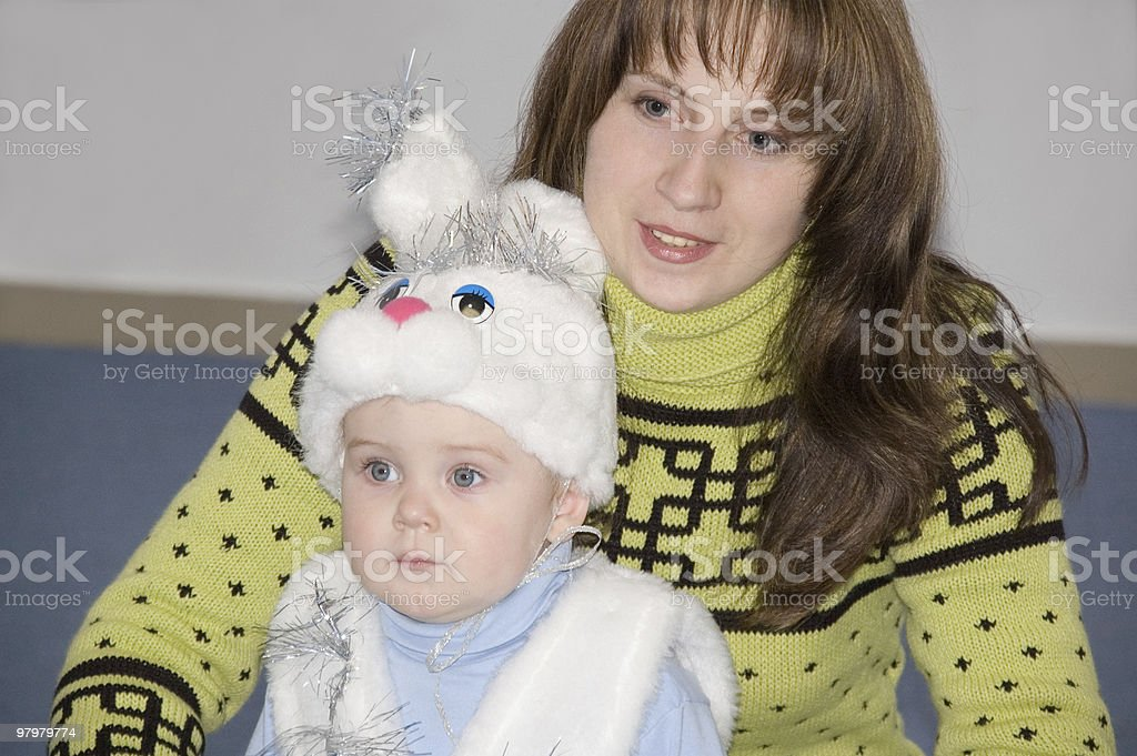 yong mother with christmas kid royalty-free stock photo