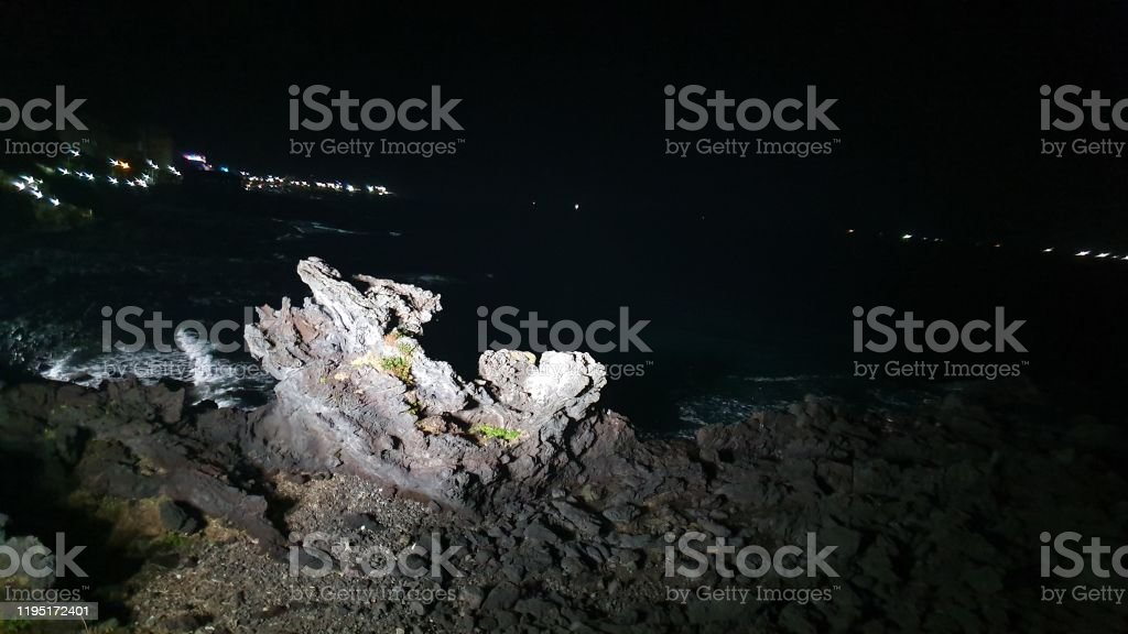 Night sea side at jeju island
