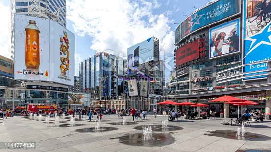 Toronto, Canada - May 5th, 2018: Yonge-Dundas Square in Toronto. The Yonge-Dundas intersection is one of the busiest in Canada.