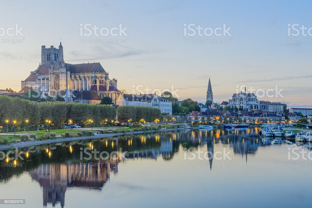 Yonne River and churches, in Auxerre - Photo