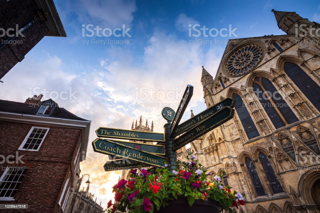 York Minster Cathedral in York, UK at sunset - Royalty-free Ancient Stock Photo