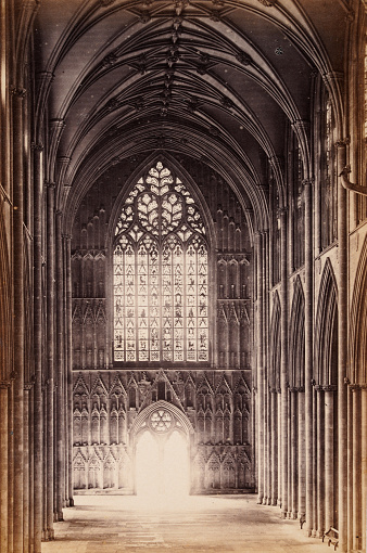 Vintage photograph of York Minster medieval stained glass window, 19th Century