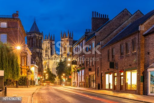 York minster Cathedral Sunset dusk, York, England UK.