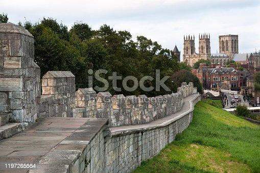 YORK, UK - SEPT 13, 2012 - York Minster seen from the city walls, York, UK