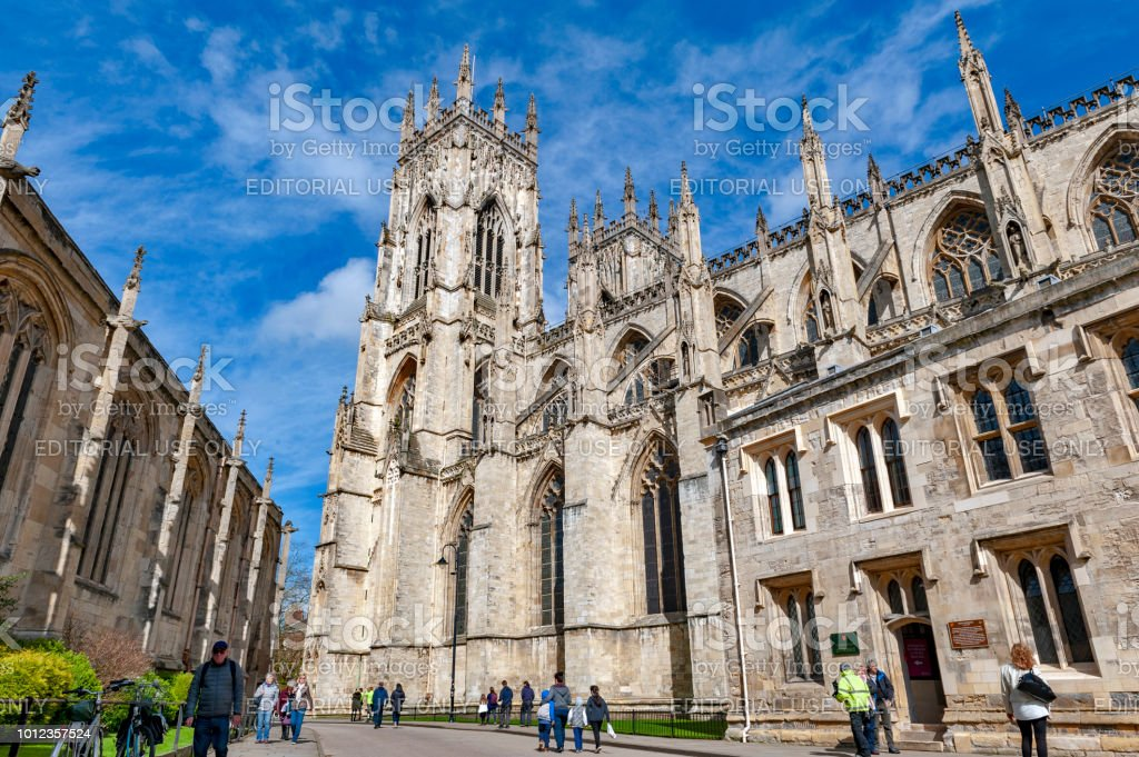 York Minster, the historic cathedral built in English gothic architectural style and major tourist landmark of the City of York in England, UK stock photo