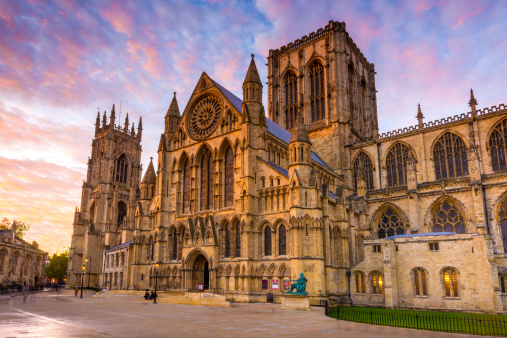 Wide angle view of York Minster at sunset in the city of York, Yorkshire, England, UK.