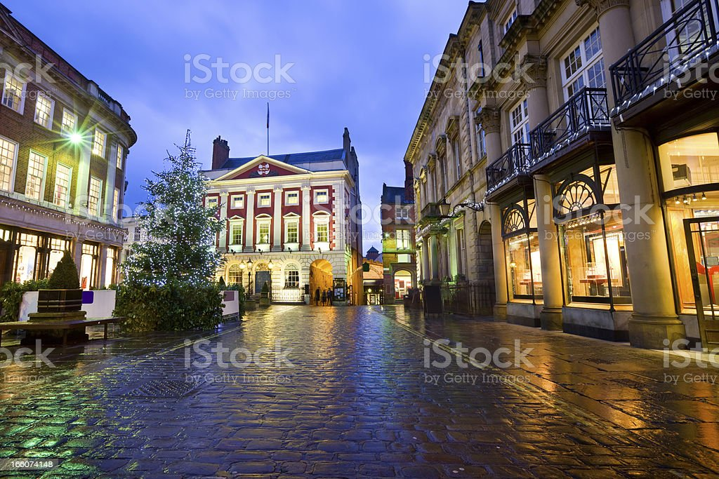 York North Yorkshire England UK Town Square with Christmas Tree stock photo
