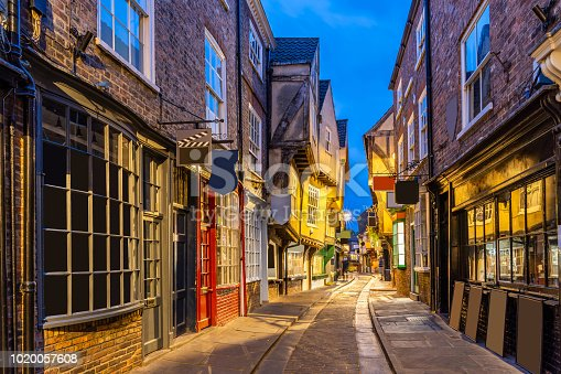 York shambles alley sunset dusk, York Englsnd UK