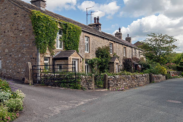 York Stone Terraced Cottages, Yorkshire stock photo