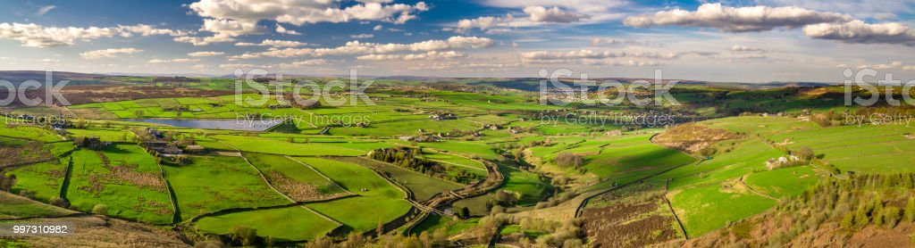 Yorkshire Countryside in Sunlight - Aerial Panorama stock photo