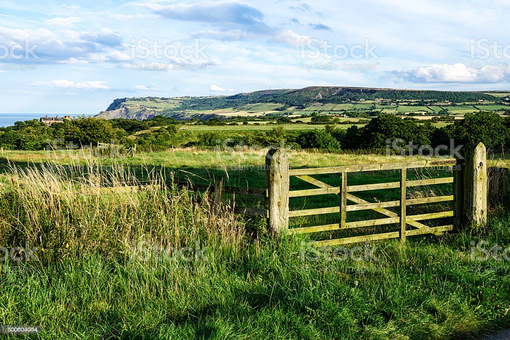 Yorkshire countryside near Robin Hoods Bay and Cleveland Way stock photo
