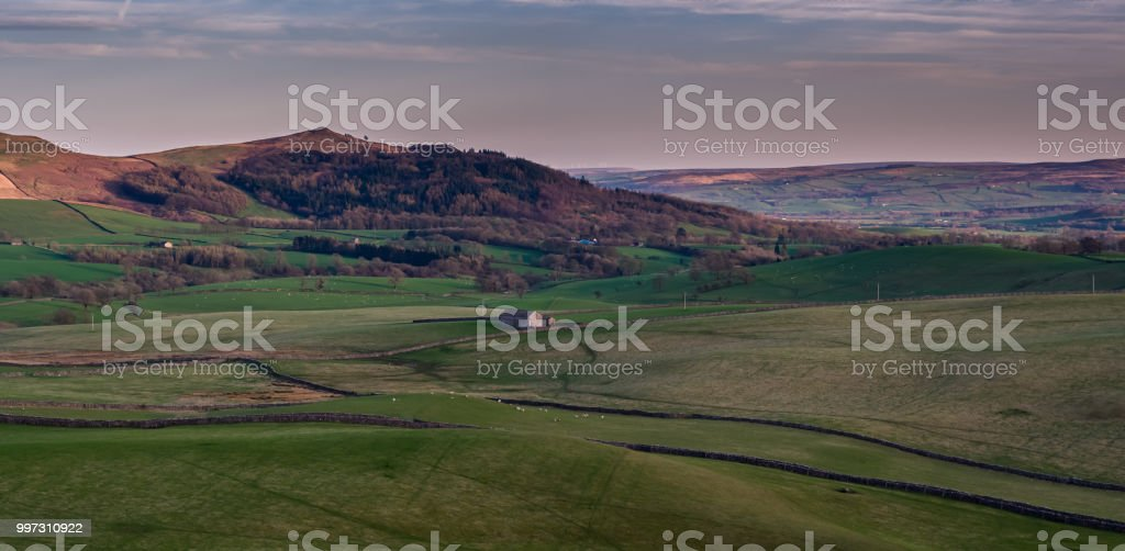 Yorkshire Dales at Sunset - Aerial Panorama stock photo