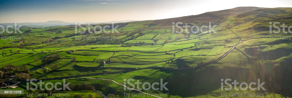 Yorkshire Dales National Park - Aerial Panorama stock photo