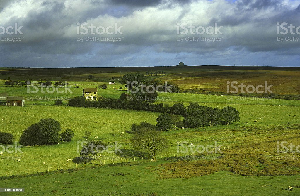 Yorkshire moors and green fields royalty-free stock photo