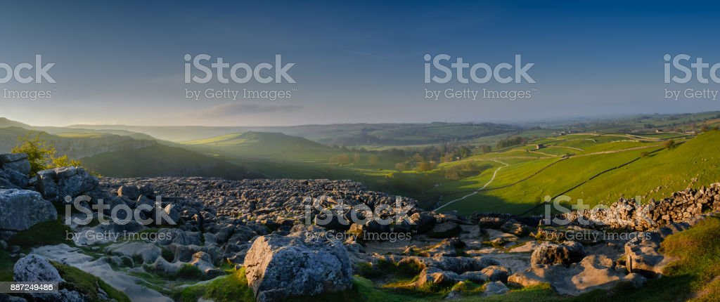 Yorkshire Morning light on the Yorkshire Dale in Northern England England Stock Photo