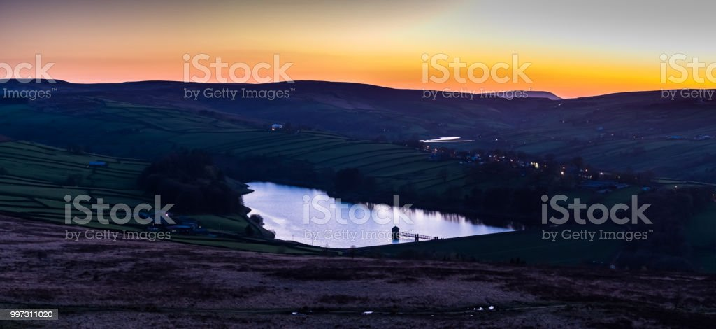 Yorkshire Reservoir at Twilight - Aerial Panorama stock photo