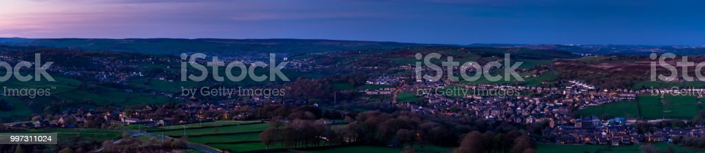Yorkshire Villages at Dusk - Aerial Panorama stock photo