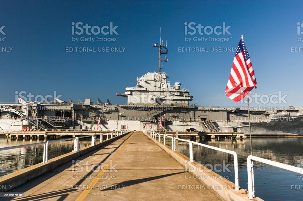 USS Yorktown Aircraft Carrier in Charleston South Carolina stock photo