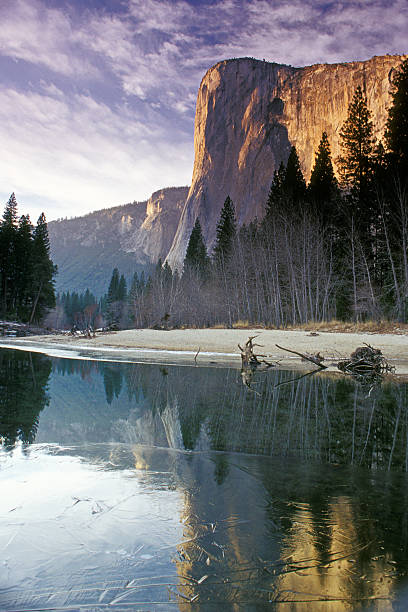 Yosemite El Capitan Mountain During Winter  el capitan yosemite national park stock pictures, royalty-free photos & images