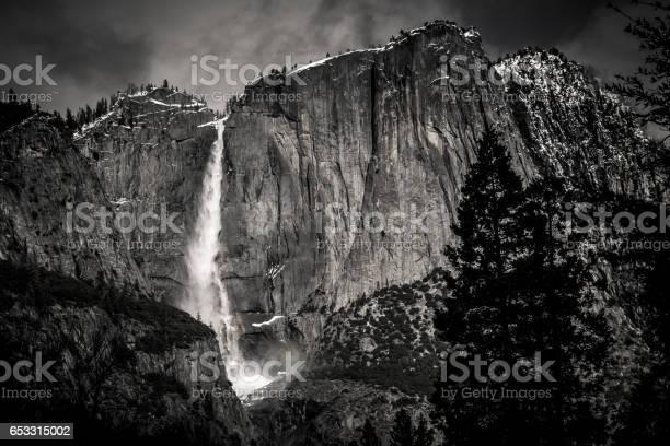 Photo of Yosemite Falls in Black and White