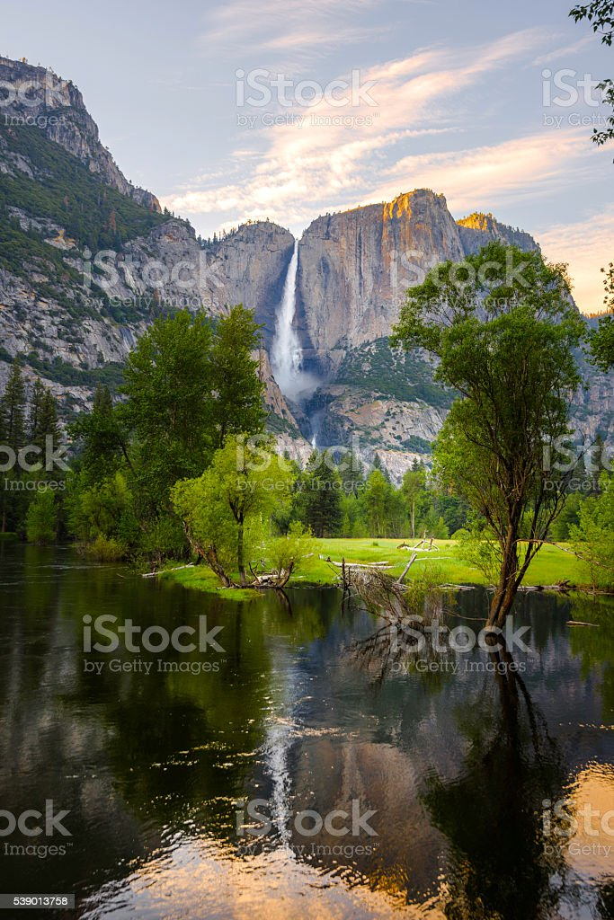 Yosemite Falls in Spring stock photo
