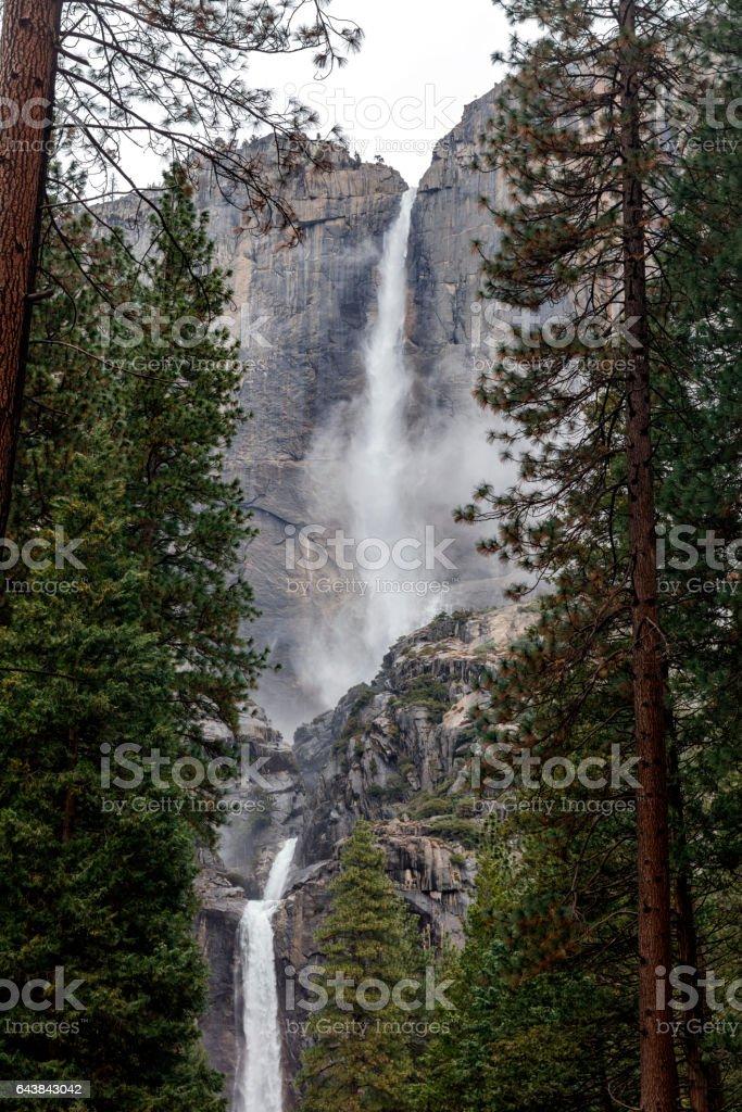 Yosemite Falls upper and lower Yosemite National Park, California, USA stock photo