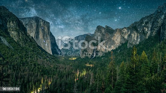 Yosemite illuminated by waxing crescent moonlight with rising Milky Way.