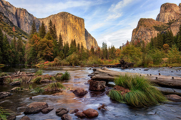 Yosemite Merced River el Capitan Sunset Yosemite Merced River el Capitan Sunset el capitan yosemite national park stock pictures, royalty-free photos & images