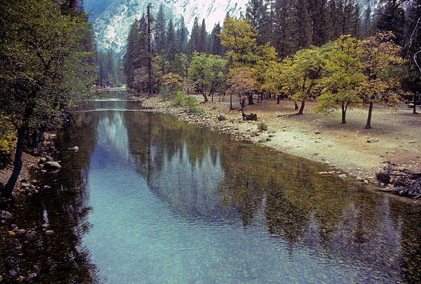 Yosemite mountains reflected in the Merced River A calm surface of the Merced River reflects the mountains of the Yosemite Valley. hearkencreative stock pictures, royalty-free photos & images