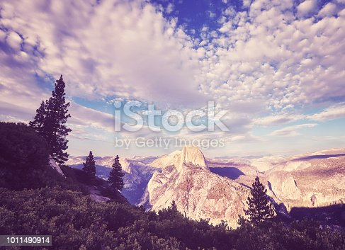 Vintage stylized picture of the Yosemite National Park at sunset, California, USA.