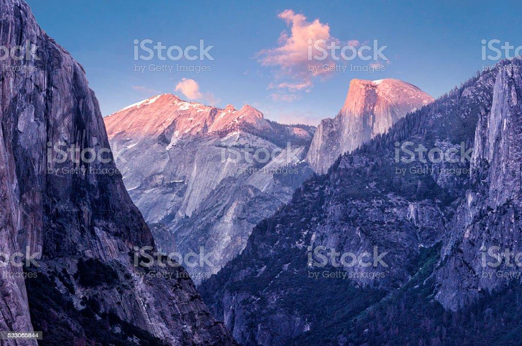 Yosemite National park at sunset stock photo