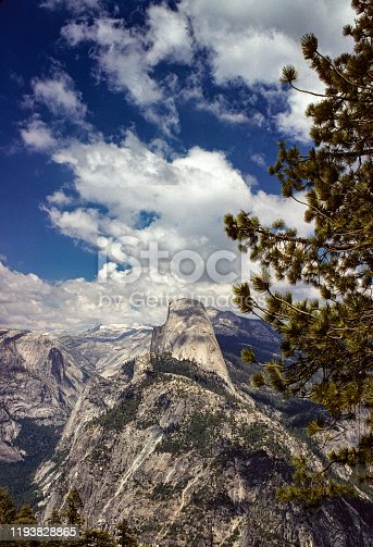Yosemite National Park Half Dome Vertical -1978. June 1978.  Scanned from Kodachrome slide.